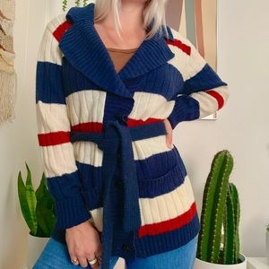 Vintage 70s striped cardigan sweater w/ belt M/L